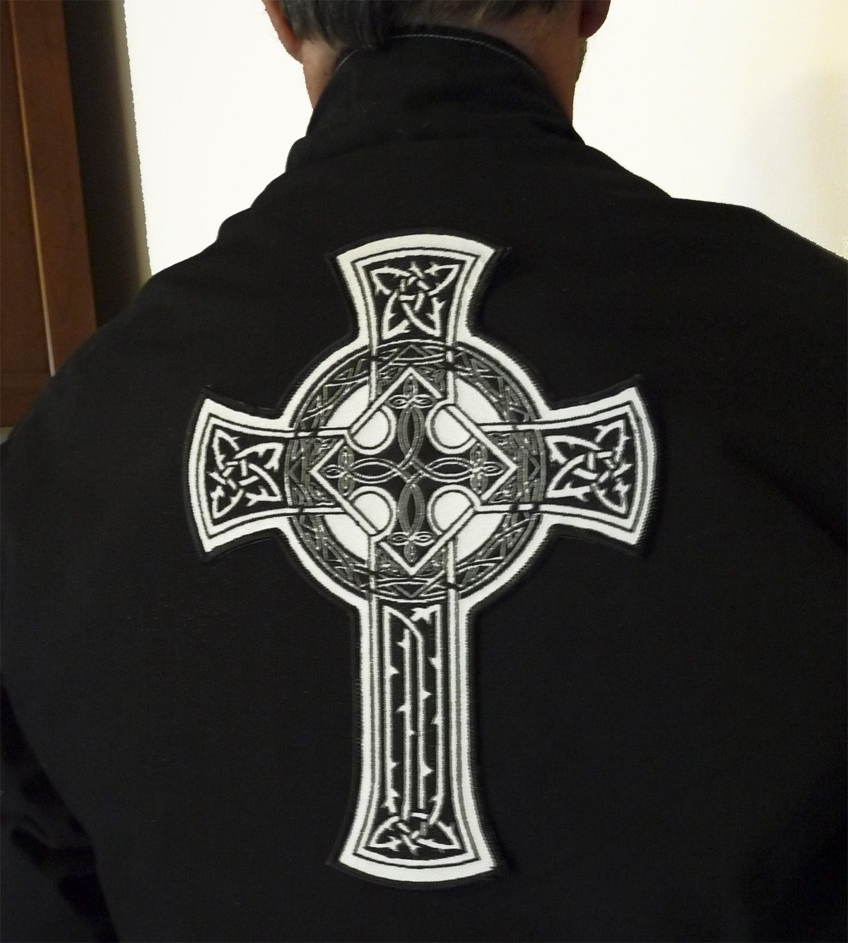 """Celtic Cross 7.5"""" x 10"""" tall reflective embroidered patch. Nightfire Patches®"""