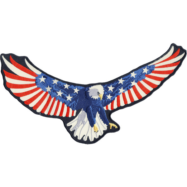 "American Eagle Back Patch 14"" x 7.25"" inches reflective embroidered patch. Nightfire Patches®"
