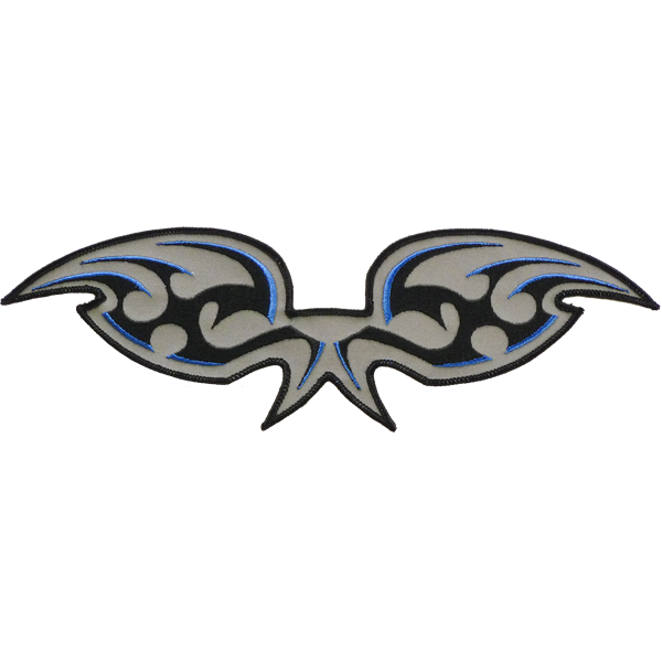 Blue black wings reflective embroidered patch. Nightfire Patches®