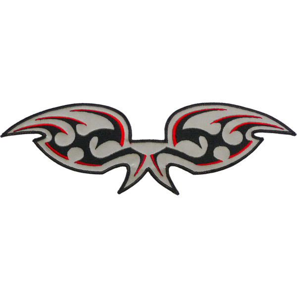 red black wings reflective embroidered patch. Nightfire Patches®